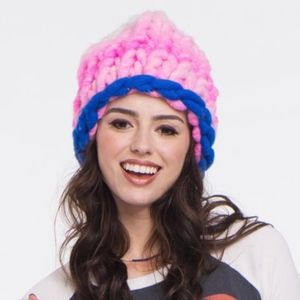 LOOPY MANGO New York  Blue Pink & Ivory Beanie